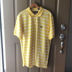 Yellow white stripped Chaps collard t-shirt L